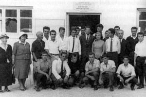 Greek refugee camp, 1964. Fil Filipov is to the immediate left of the exiled Bulgarian King Simeon (center, in a suit) and her majesty Margarita.